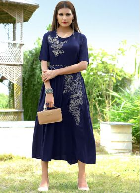 Fine Embroidered Blue Party Wear Kurti