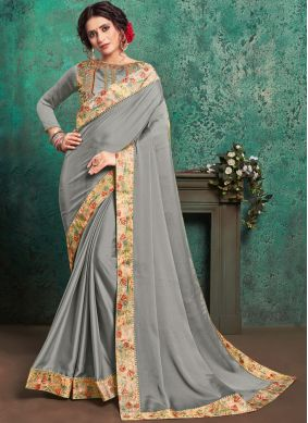 Fine Embroidered Grey Faux Georgette Classic Saree