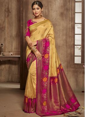 Fine Yellow Traditional Saree