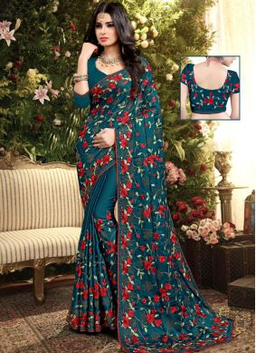 Firozi Embroidered Party Designer Saree