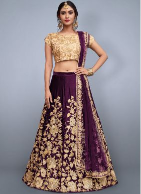 Flattering Art Silk Embroidered Work Lehenga Choli