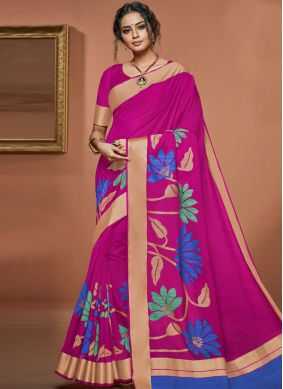 Flattering Art Silk Hot Pink Woven Traditional Saree