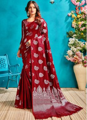 Flawless Art Silk Woven Red Designer Traditional Saree