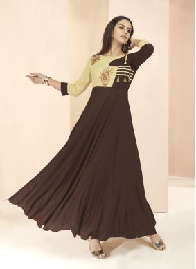 Flawless Brown Patchwork Party Wear Kurti
