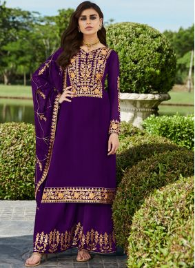 Flawless Faux Georgette Embroidered Trendy Palazzo Salwar Kameez