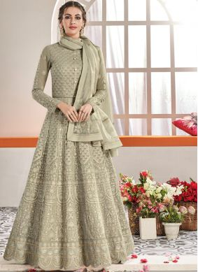 Flawless Grey Festival Anarkali Suit