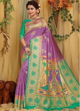 Flawless Weaving Purple Fancy Fabric Designer Traditional Saree