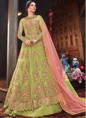 Floor Length Anarkali Salwar Suit Resham Net in Sea Green