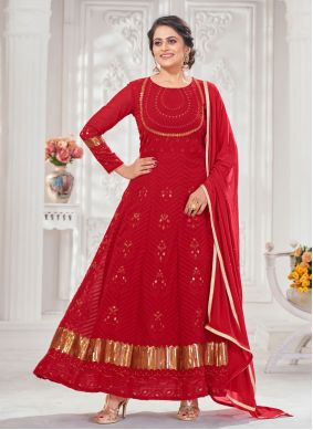 Floor Length Anarkali Suit Embroidered Faux Georgette in Red