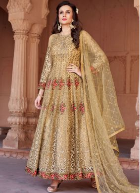 Floor Length Anarkali Suit Embroidered Net in Gold