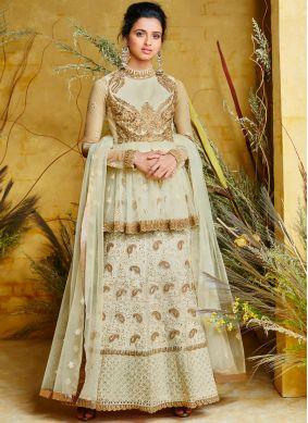 Floor Length Anarkali Suit Embroidered Poly Silk in Off White