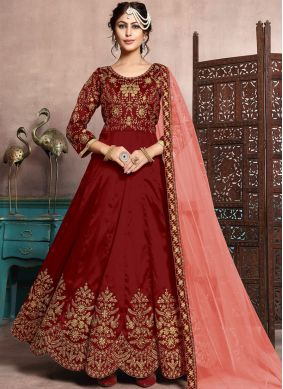 Floor Length Anarkali Suit Resham Art Silk in Maroon