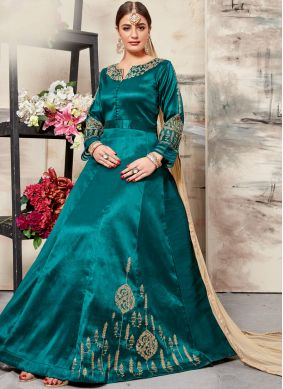 Floor Length Anarkali Suit Resham Art Silk in Sea Green