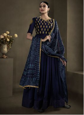 Floor Length Gown Embroidered Fancy Fabric in Navy Blue