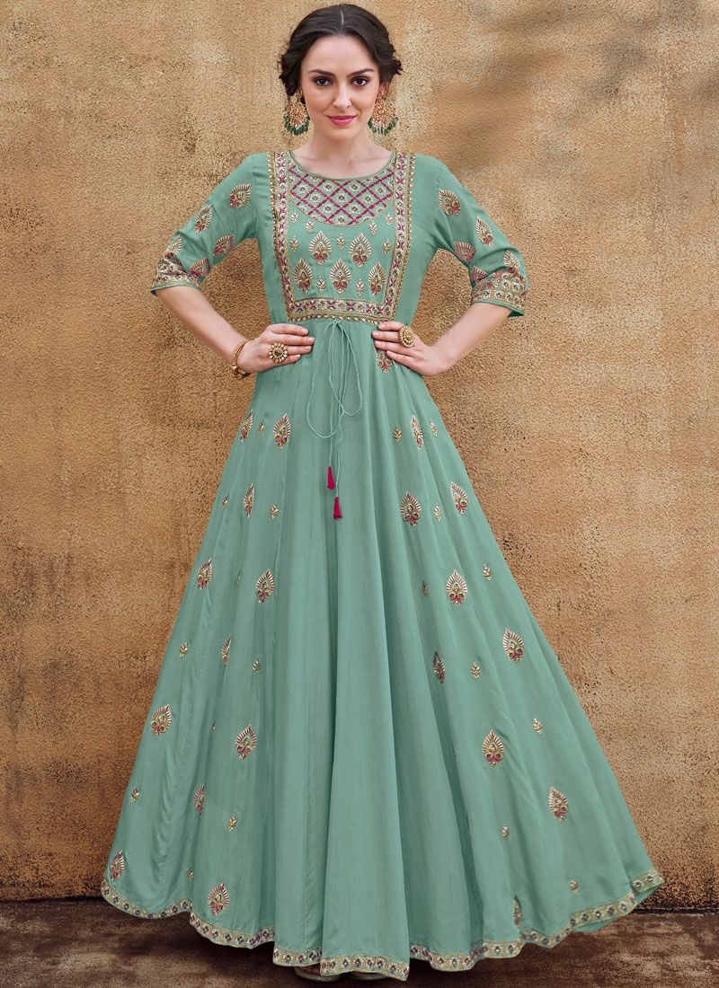 Floral Embroidered Sea Green Readymade Gown