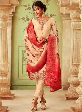 Floral Georgette Cream Embroidered Pant Style Suit