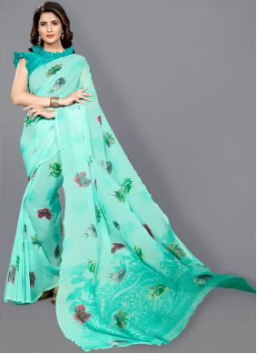 Floral Print Faux Georgette Green Classic Saree