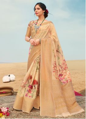 Beige Floral Print Festival Traditional Saree