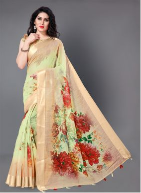 Floral Print Multi Colour Trendy Saree