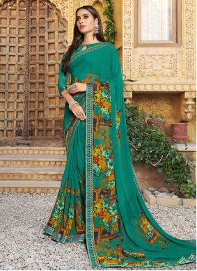 Floral Print Sea Green Georgette Trendy Saree