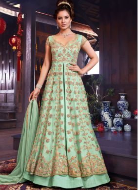 Floral Sea Green Resham Floor Length Anarkali Suit