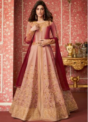 Floral Silk Embroidered Pink Desinger Anarkali Salwar Suit