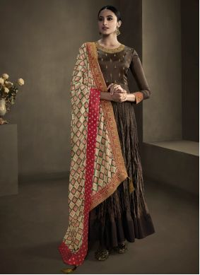 Foil Embroidered Brown Trendy Gown