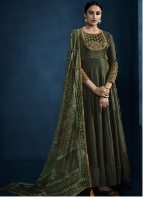 Foil Embroidered Green Designer Gown