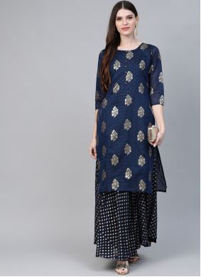 Foil Print Chanderi Casual Kurti in Navy Blue