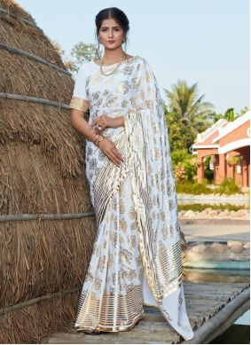 White Foil Print Contemporary Saree