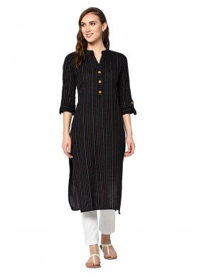 Foil Print Cotton Casual Kurti in Black