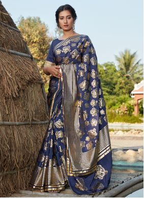 Blue Foil Print Silk Trendy Saree