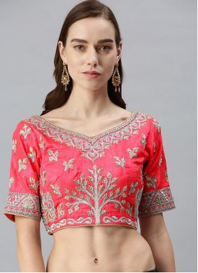 Fuchsia Embroidered Art Silk Designer Blouse