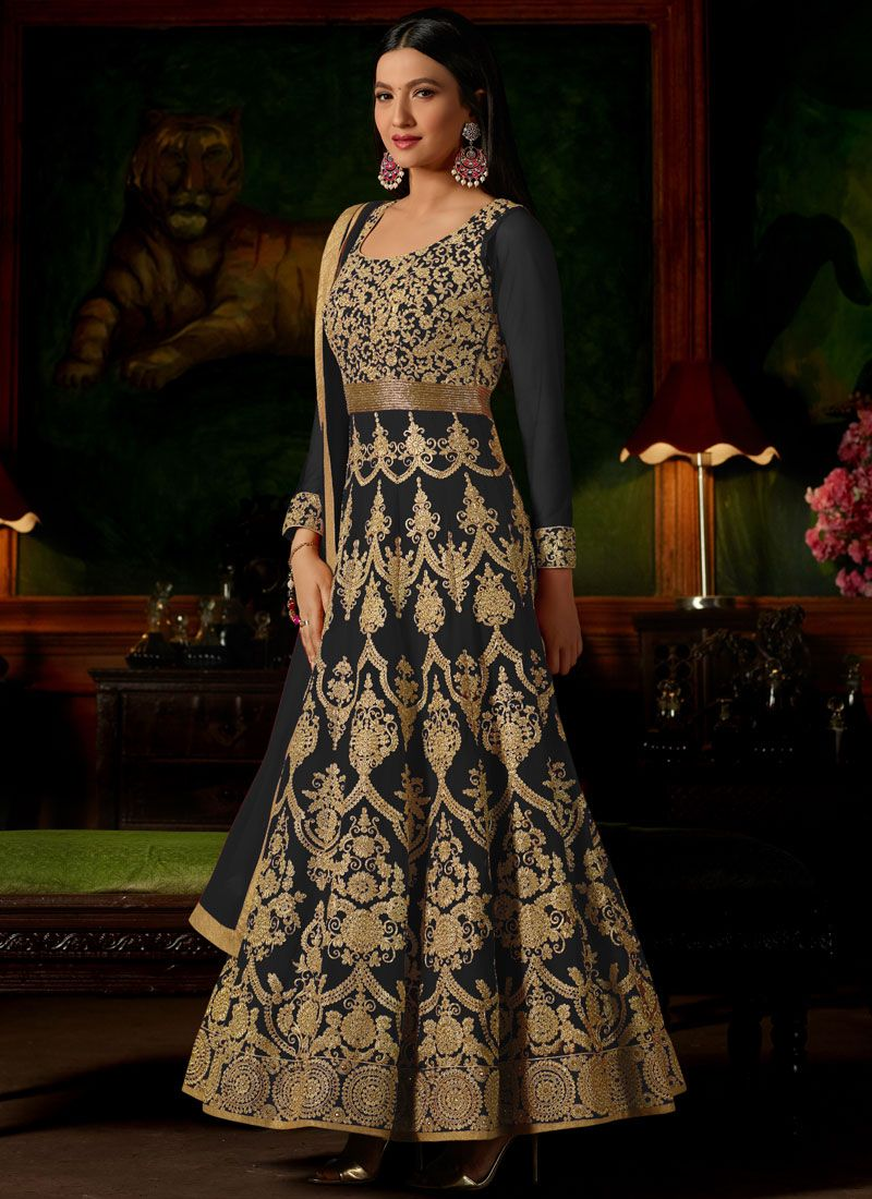 Gauhar Khan Grey Zari Floor Length Anarkali Suit
