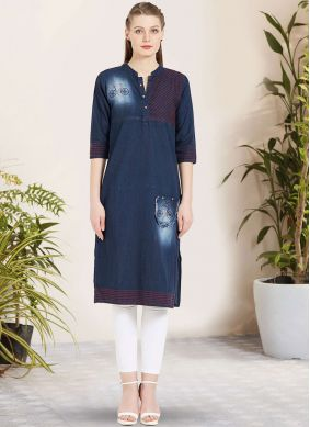 Genius Embroidered Blue Cotton Party Wear Kurti