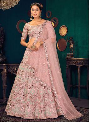 Georgette A Line Lehenga Choli in Pink