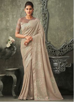 Georgette Beige Embroidered Bollywood Saree