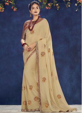 Georgette Beige Embroidered Designer Saree