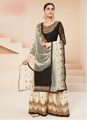 Georgette Black Embroidered Trendy Straight Salwar Kameez