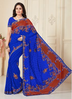 Georgette Blue Lace Traditional Saree