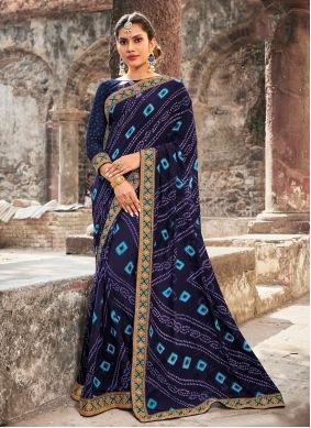 Georgette Border Contemporary Saree in Blue