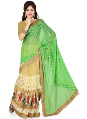 Georgette Casual Saree in Green