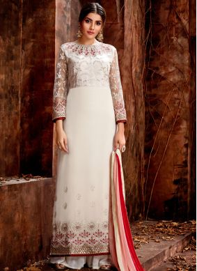Georgette Designer Straight Suit in Off White