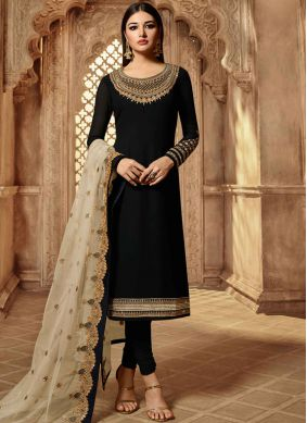 Georgette Embroidered Black Churidar Salwar Kameez
