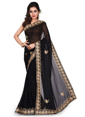 Georgette Embroidered Black Designer Traditional Saree
