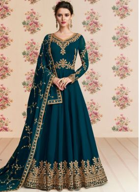 Georgette Embroidered Blue Anarkali Salwar Kameez