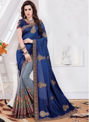Georgette Embroidered Blue and Grey Designer Half N Half Saree