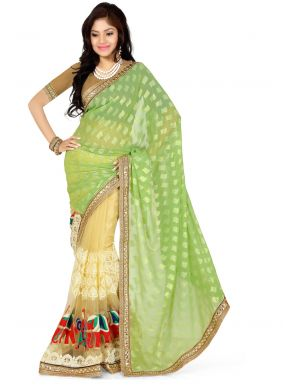 Georgette Embroidered Classic Saree in Green