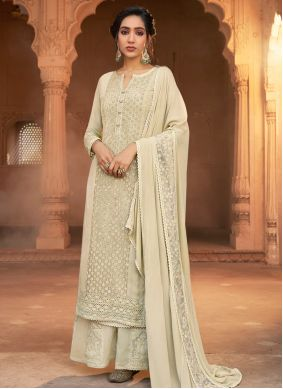 Off White Georgette Embroidered Pakistani Suit