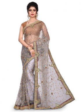 Georgette Embroidered Designer Traditional Saree in Grey